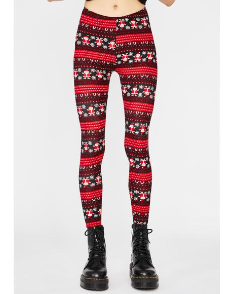Here Comes Santa Printed Leggings
