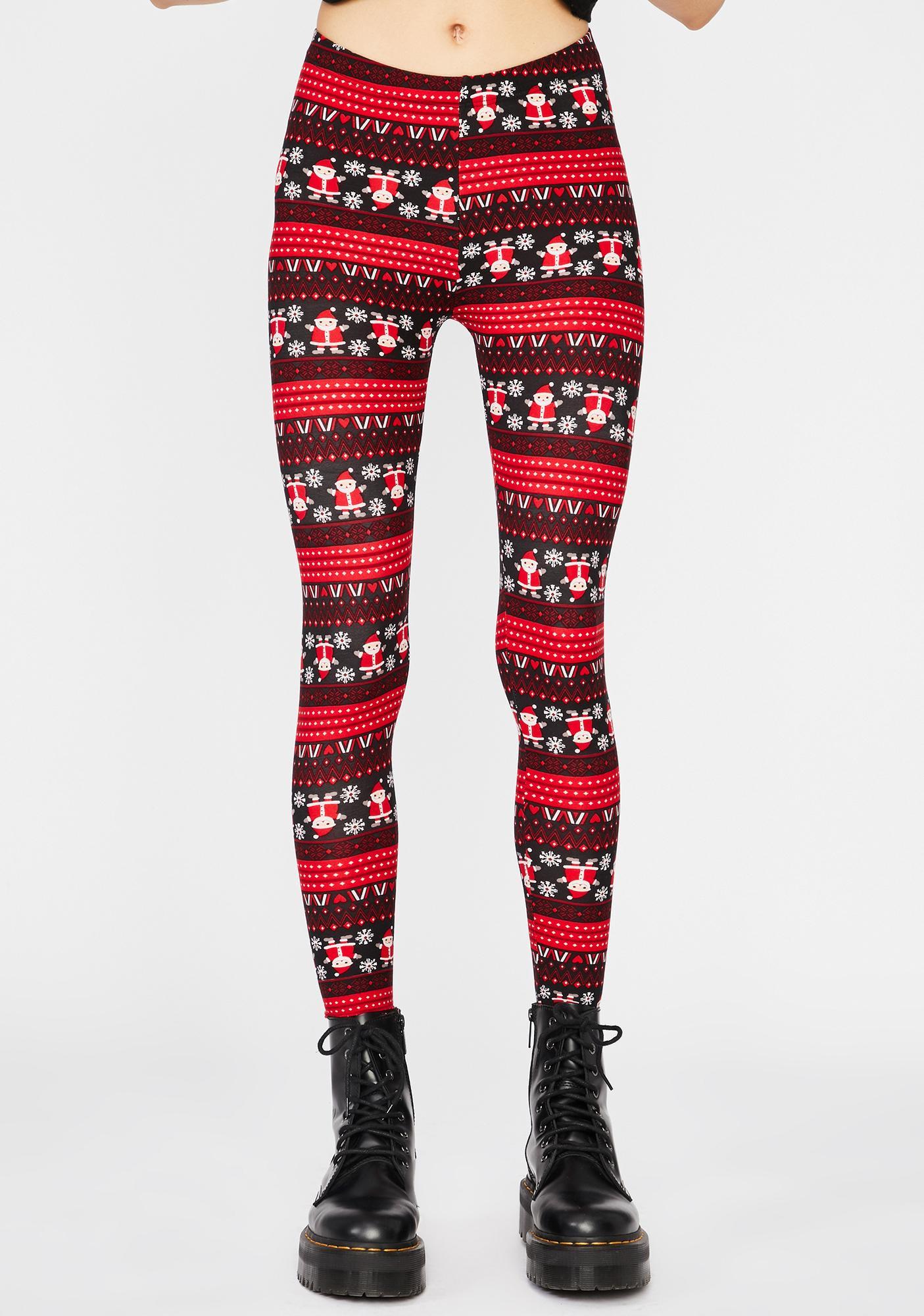 Here Comes Santa Printed Leggings