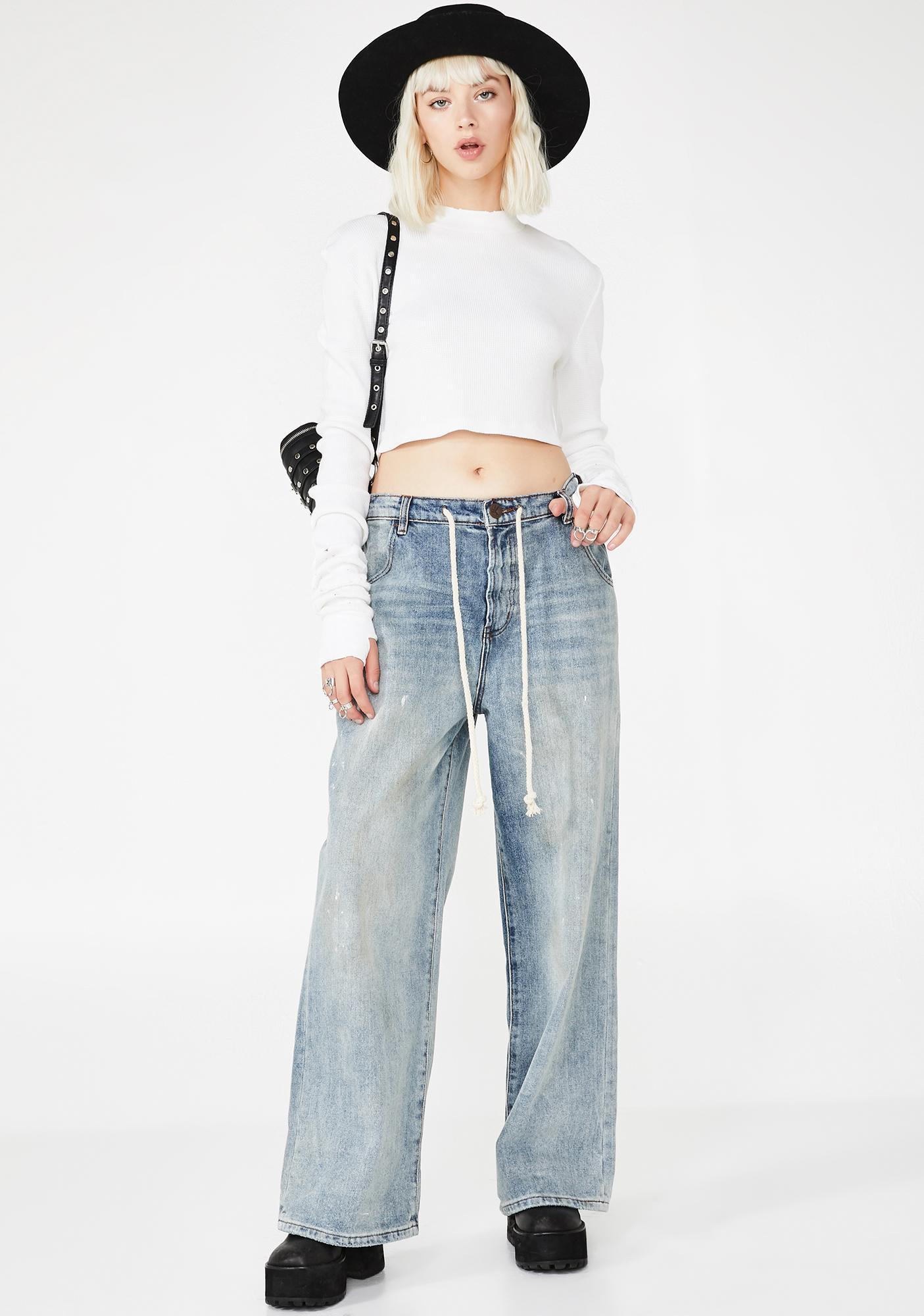 One Teaspoon Bad Boys High Waist Wide Leg Blue Jeans