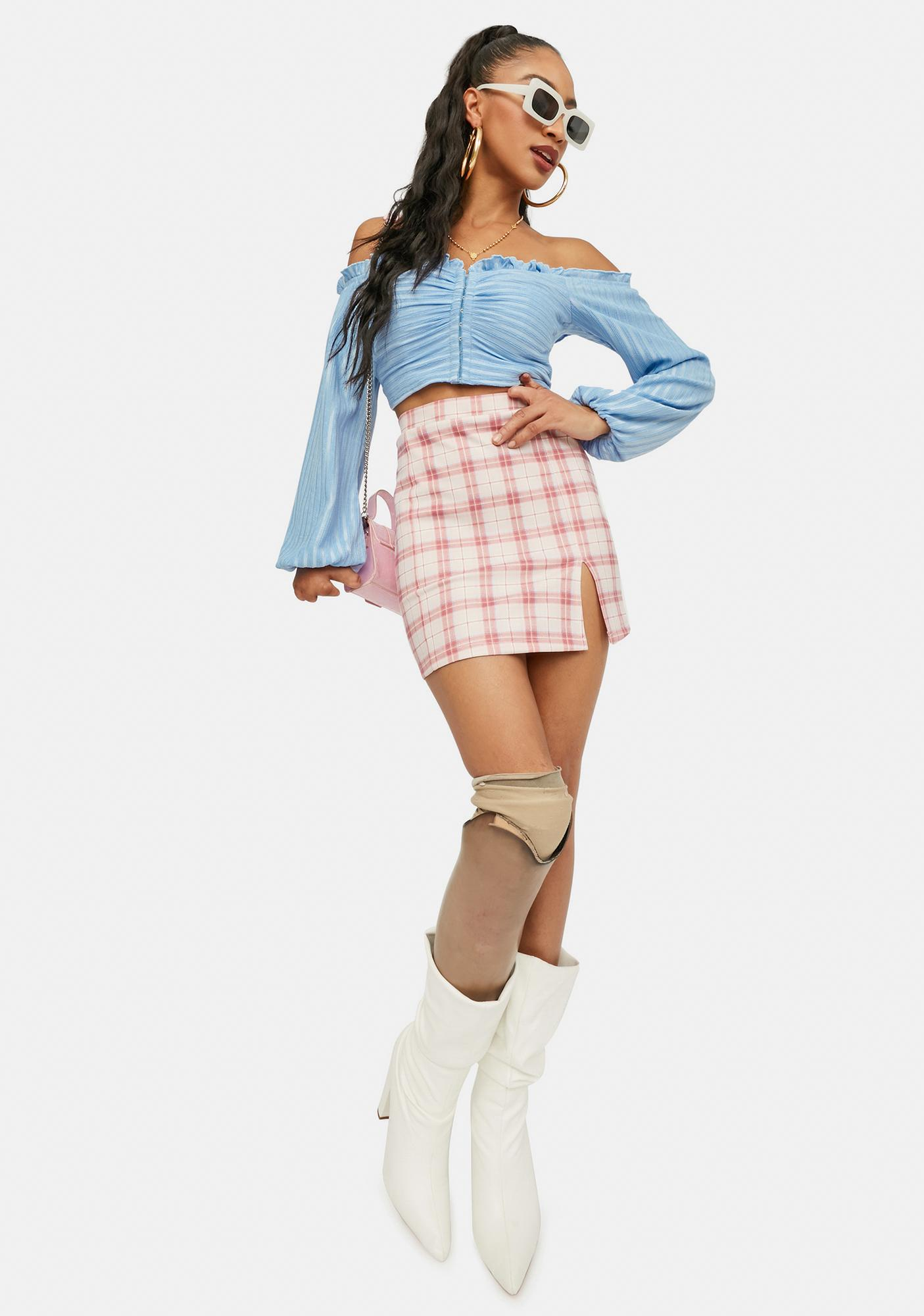First Date Kiss Plaid Mini Skirt