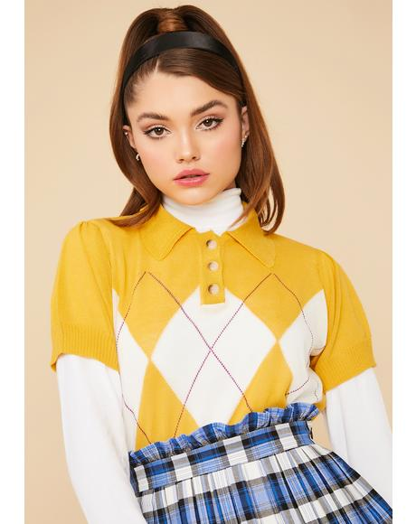Mustard Prep School Queen Retro Argyle Knit Crop Top