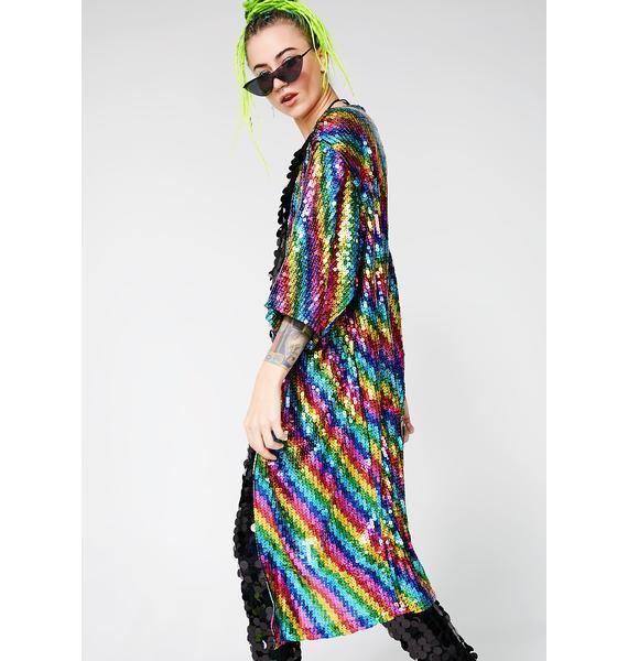Rainbow World Sequin Kimono