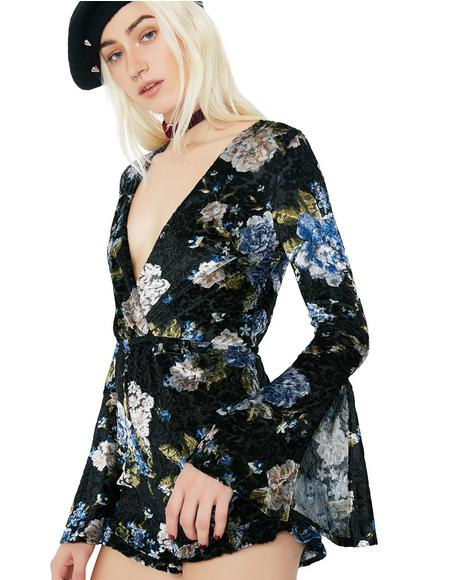 Forget Me Not Floral Velvet Romper