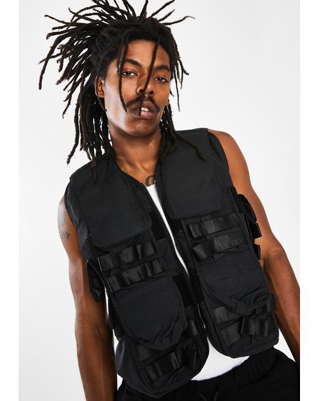 Black Nylon Utility Vest