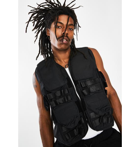 Jaded London Black Nylon Utility Vest