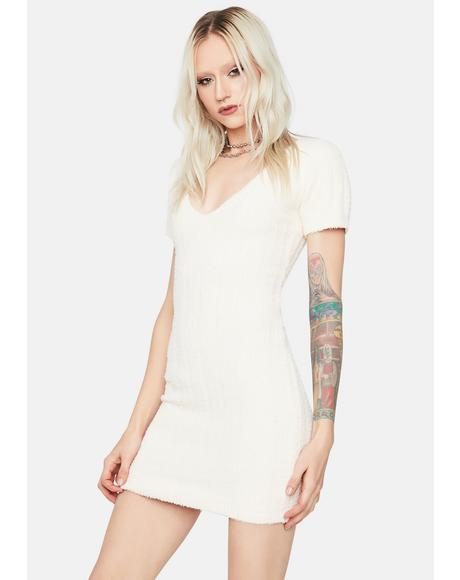 Cream Love This Feeling Fuzzy Knit Mini Dress