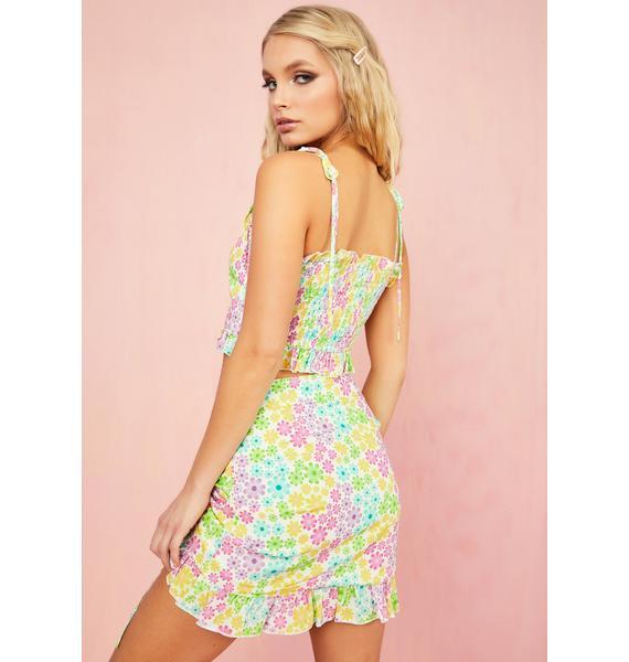 Sugar Thrillz Pretty As A Daisy Ruched Skirt