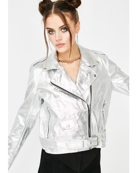 Chrome Money Spent Biker Jacket