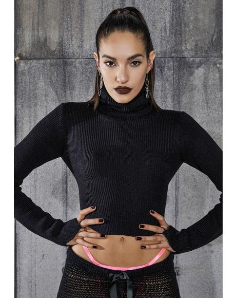 Snare Open Back Turtleneck Crop Sweater