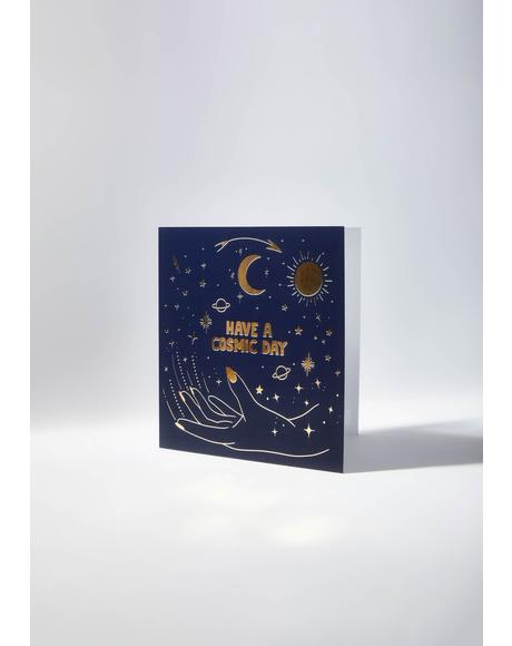 Cosmic Day Greeting Card And Sticker Set
