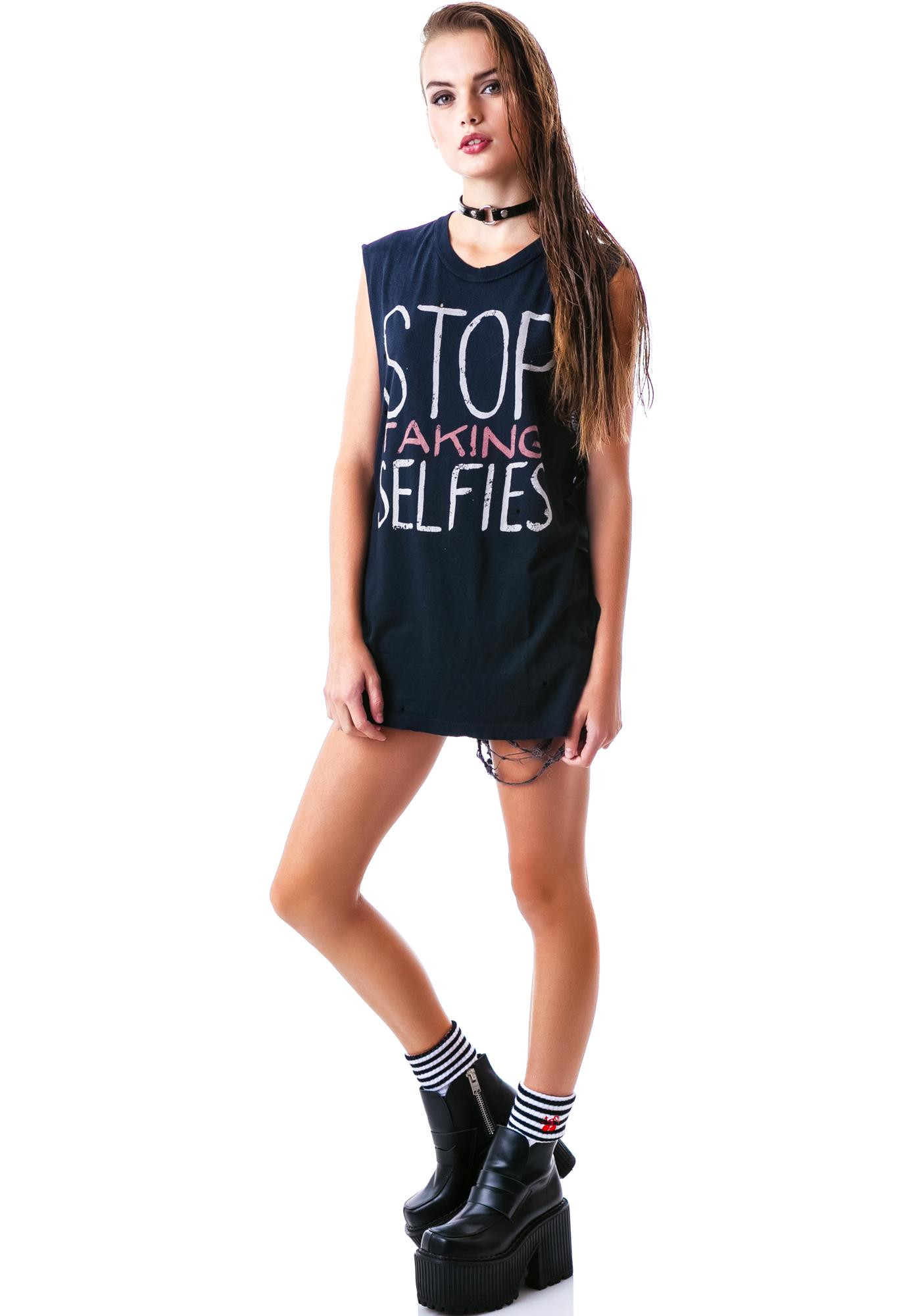 UNIF Stop Taking Selfies Sleeveless Tee