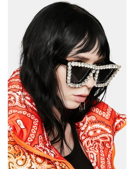 Club Glam Rhinestone Oversized Sunglasses