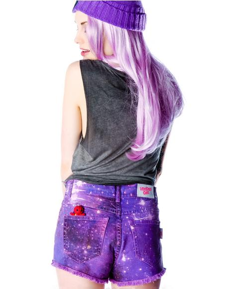 Stars Tie Dye Print Shorts