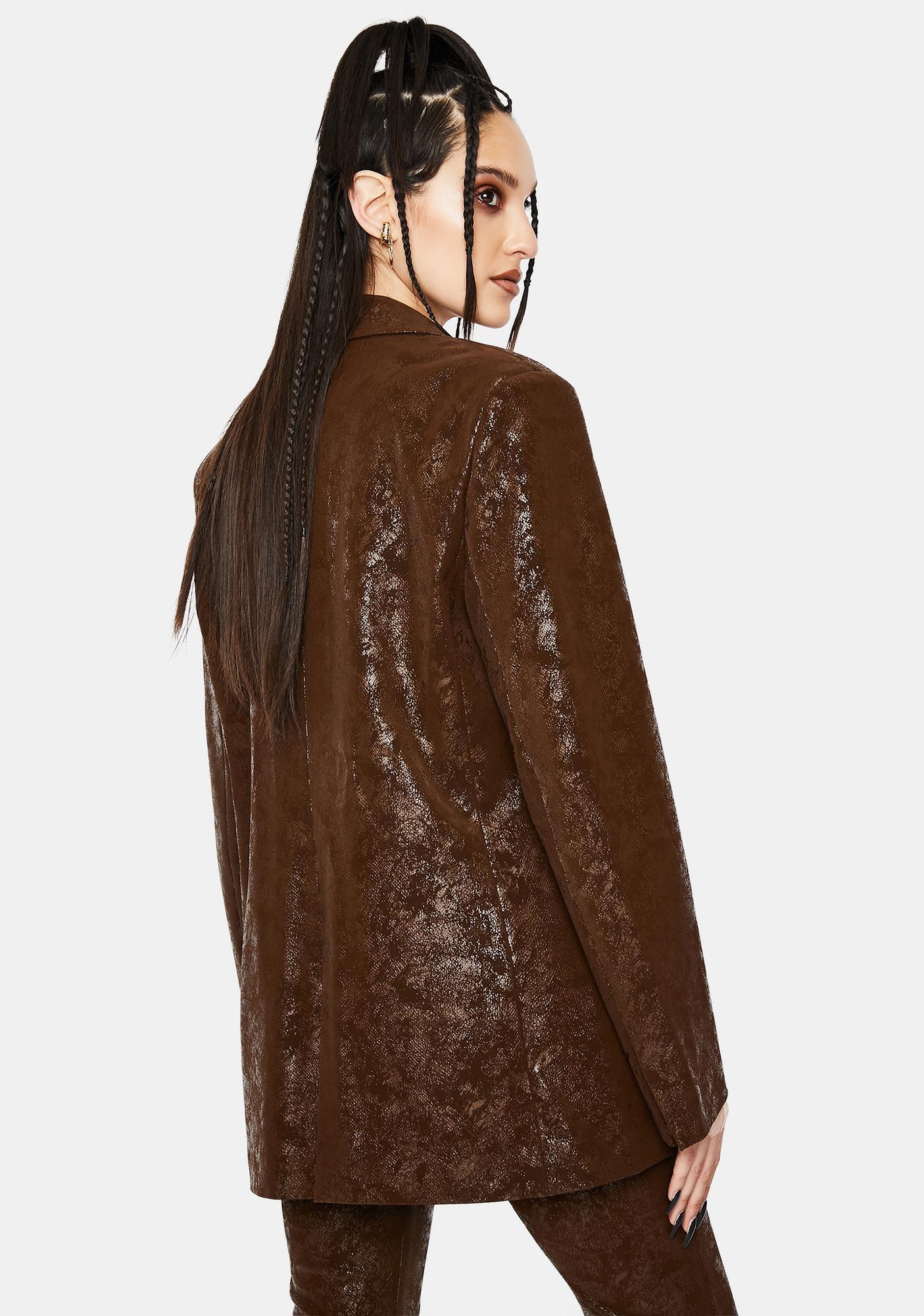 Jaded London Brown Vegan Leather Suit Jacket