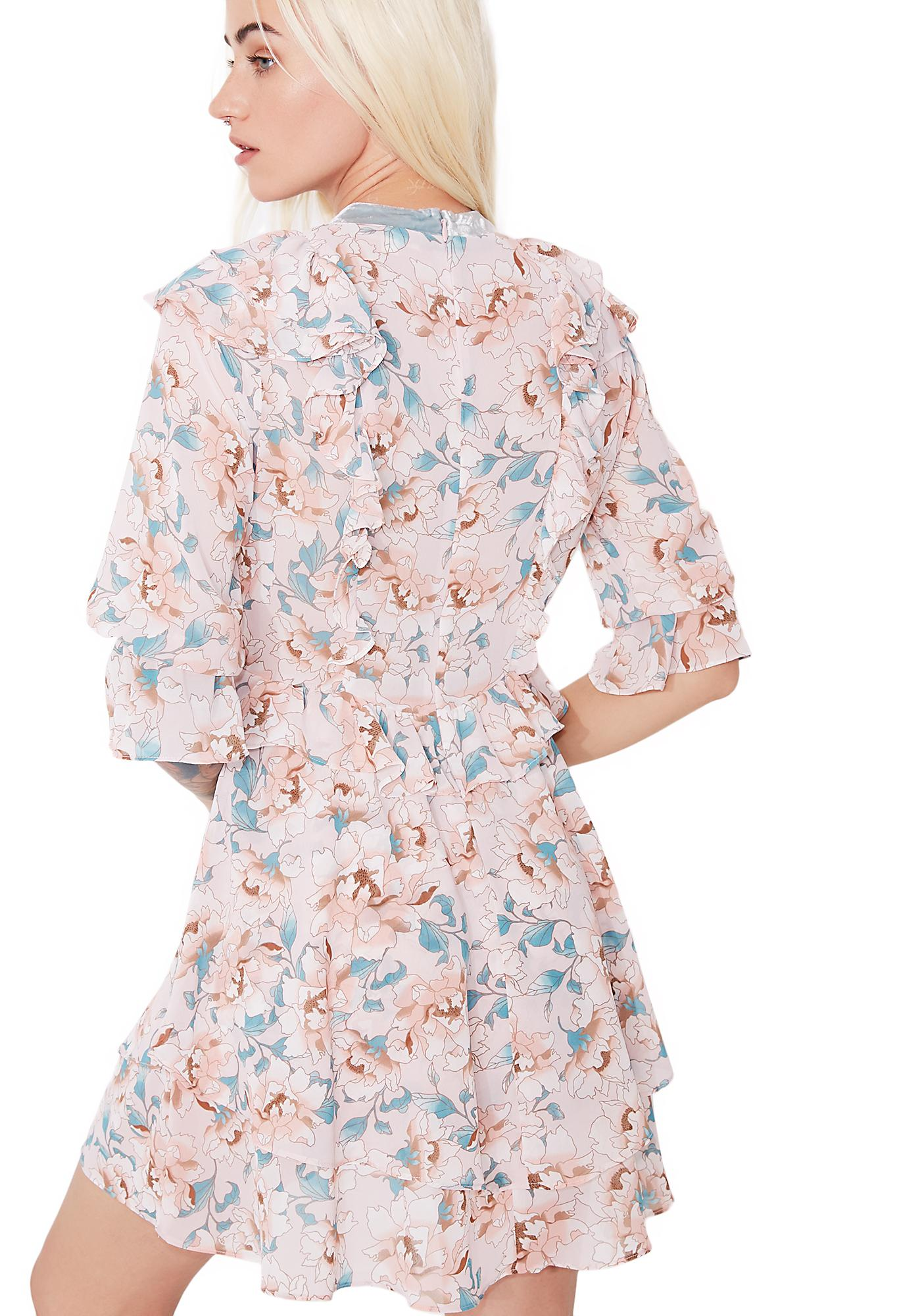 For Love & Lemons Blossom Long Sleeve Mini Dress