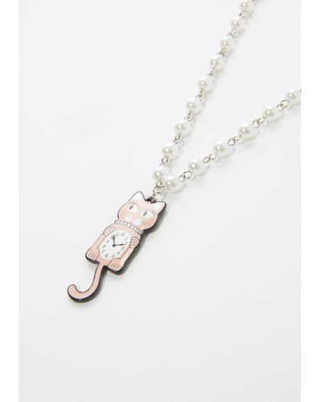 Turning Back Time Cat Pearl Choker