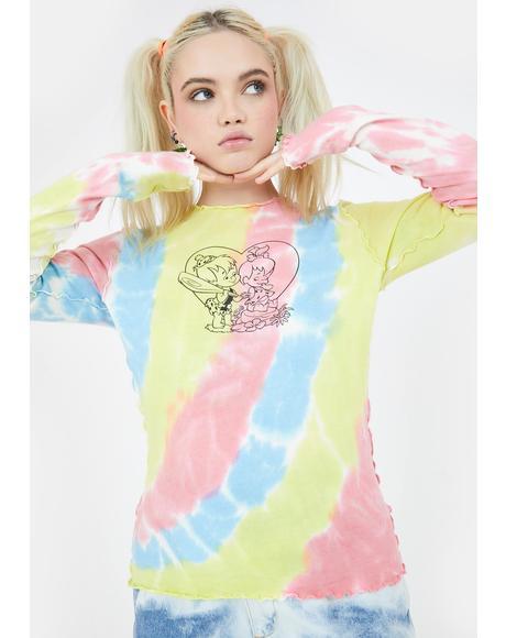 X Flintstones Bedrock Tie Dye Top