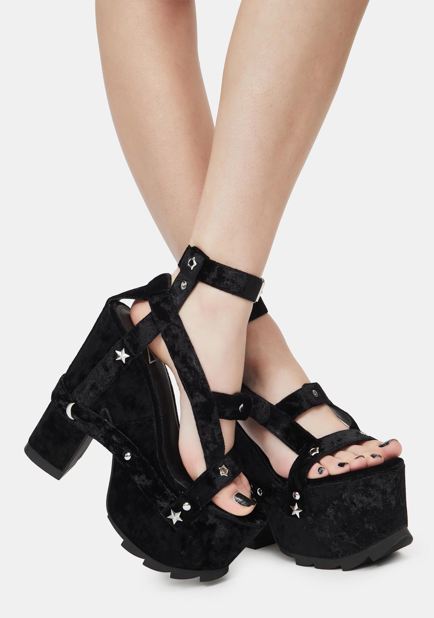 Y.R.U. Nightcall Black Velvet Platform Heels