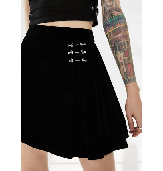 Punk Rave Metal Buckle Decorative Pleated Half Skirt