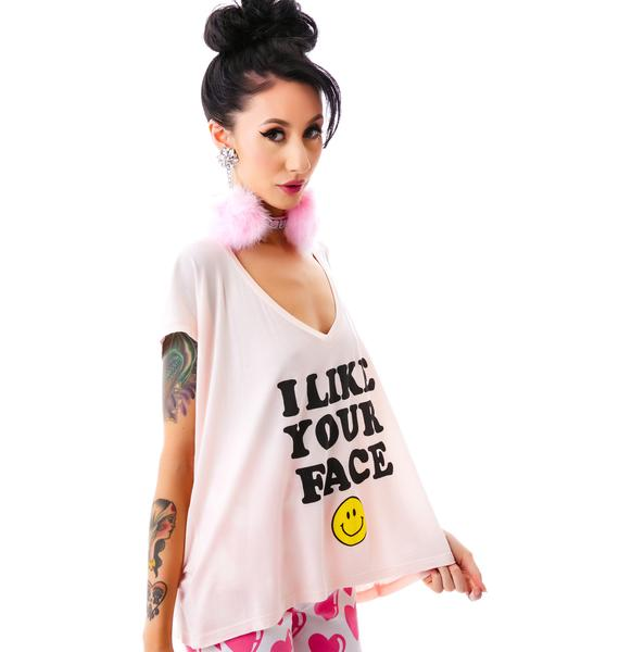 I Like Your Face V-Neck Tee