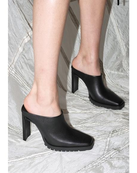 Synth Leather Square Toe Mules