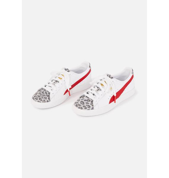 PUMA Leopard Clyde Lace Up Sneakers