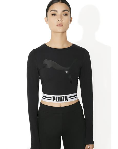 Fly Cat Long Sleeve Cropped Tee