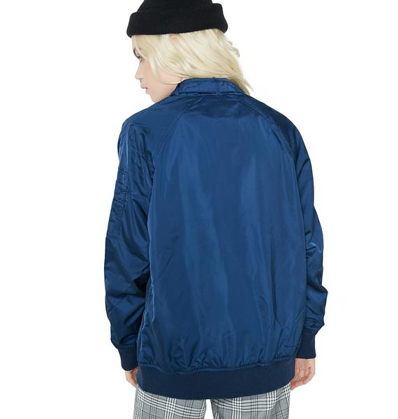 Members Only Royal Satin Boyfriend Bomber Jacket