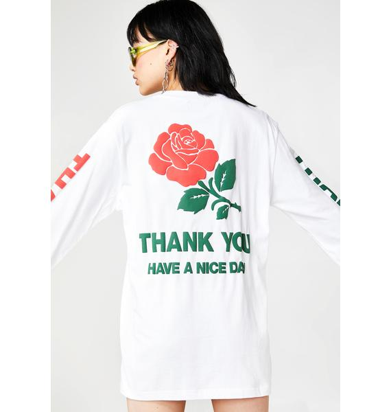 CHINATOWN MARKET Thank You Rose Long Sleeve Tee