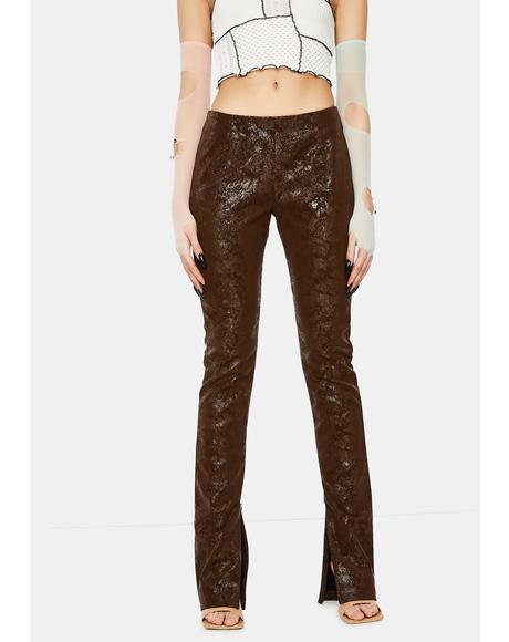 Brown Vegan Leather Flared Leg Trousers