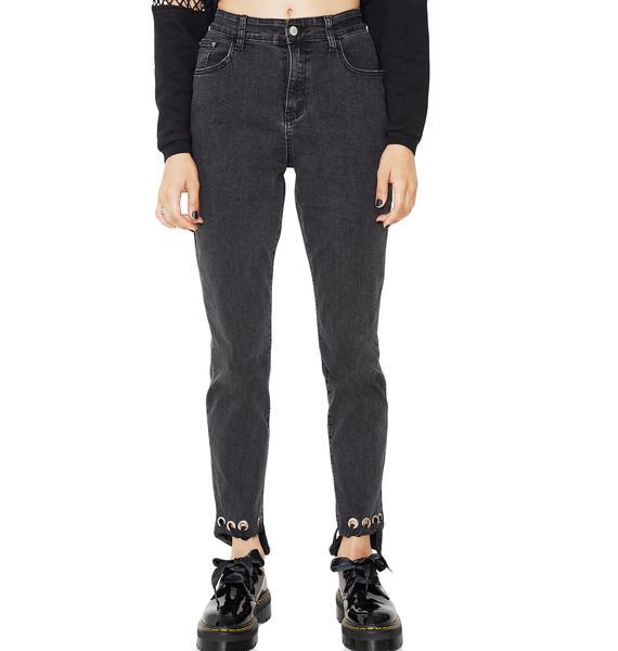 Glamorous On Edge Grommet Denim Jeans