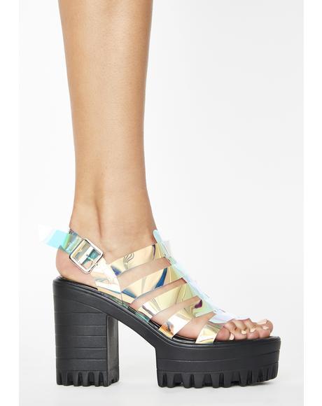 Leader Iridescent Sandal Heels