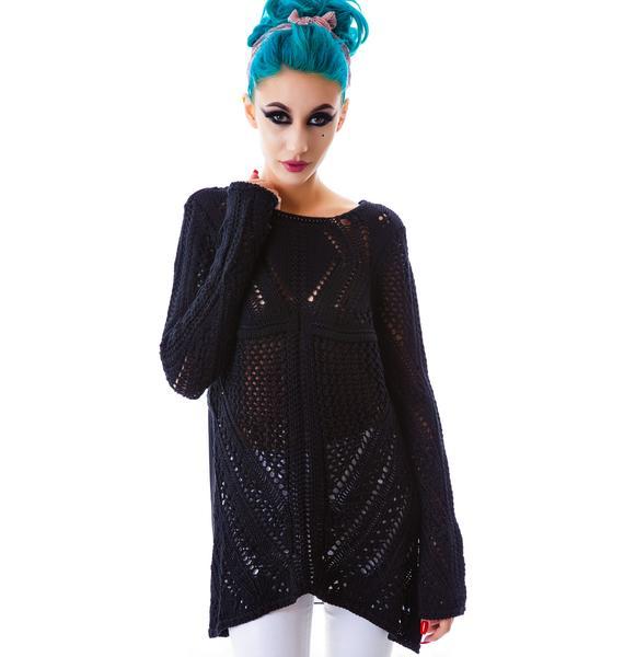 Roxy Chiffon Back Sweater
