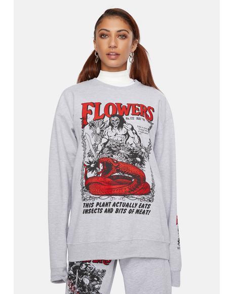 X Playdude Flowers Graphic Crewneck Sweatshirt