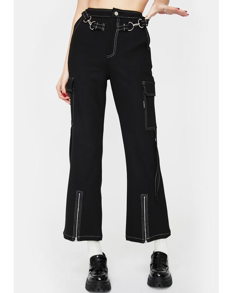 Black Wide Leg Zip Crop Cargo Pants