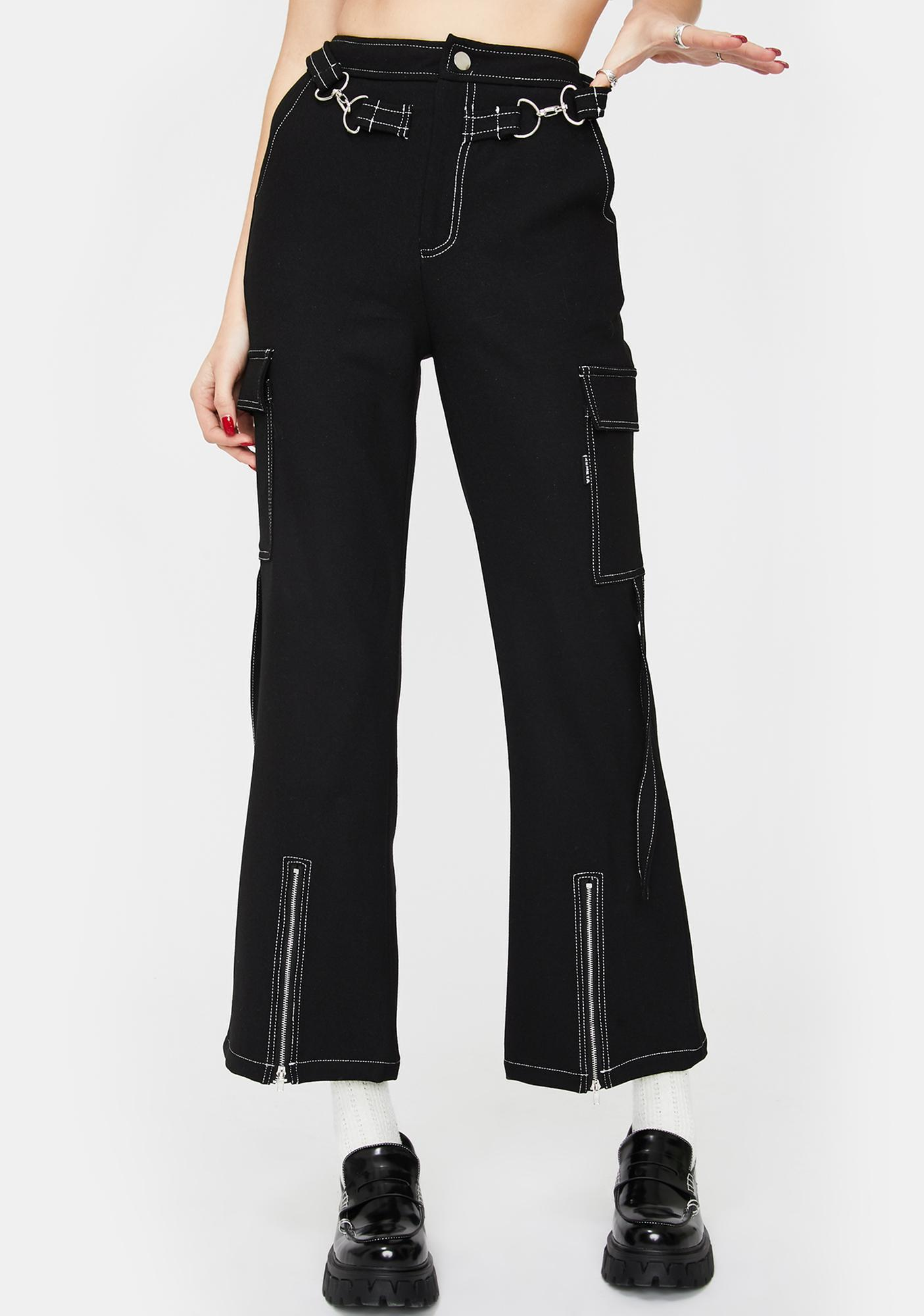 ZEMETA Black Wide Leg Zip Crop Cargo Pants