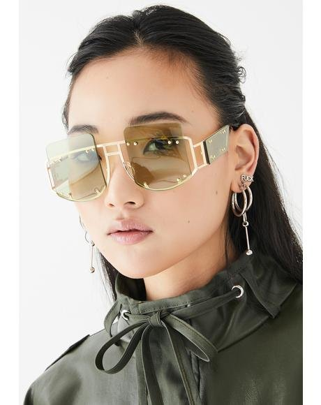 Lime Cyber Martini Square Sunglasses