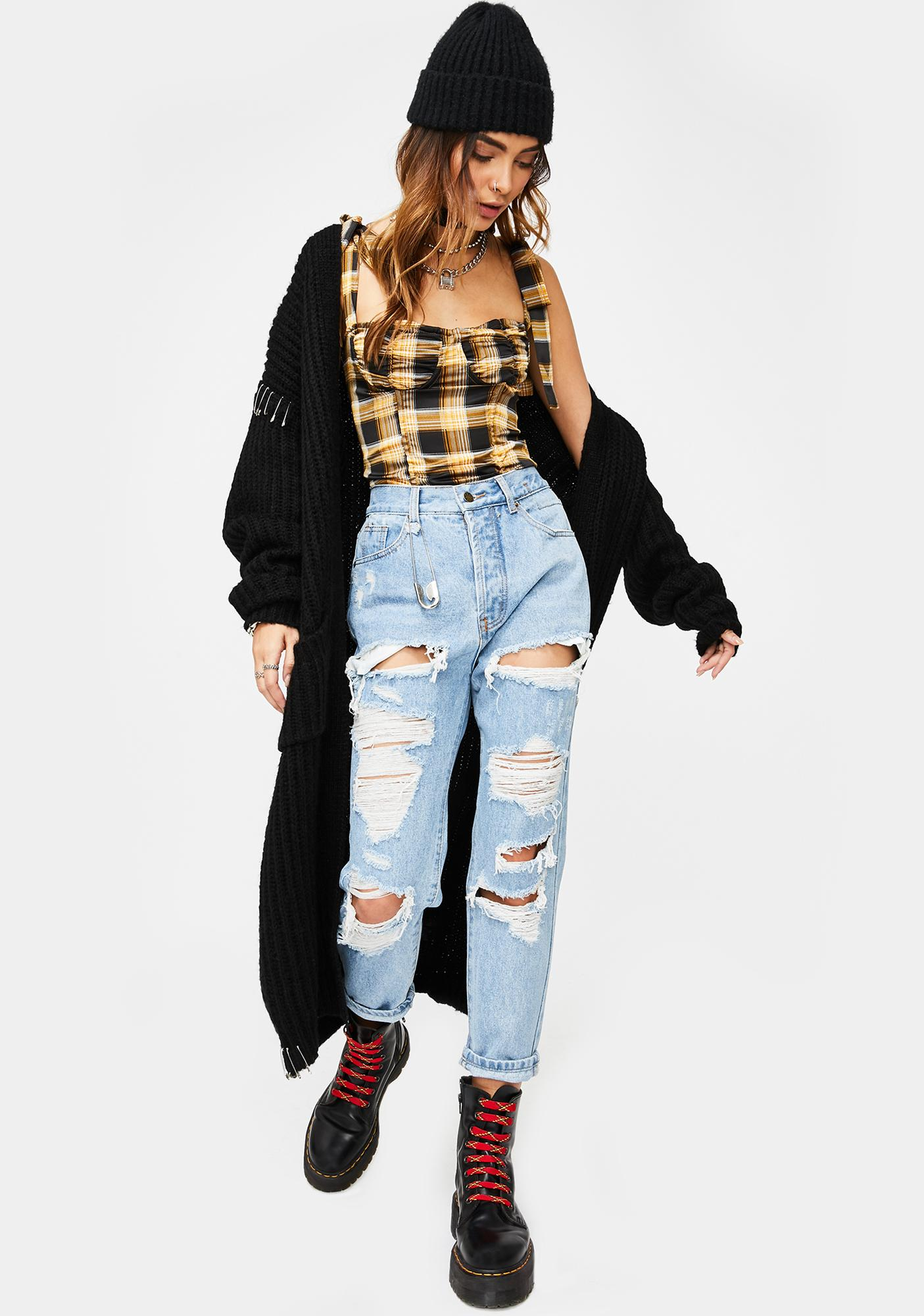 Lioness Boo'd Up Yellow Plaid Bustier Top