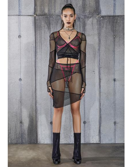 Snare Fishnet And Mesh Patchwork Skirt