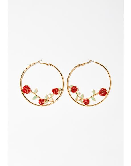 In Full Bloom Hoop Earrings