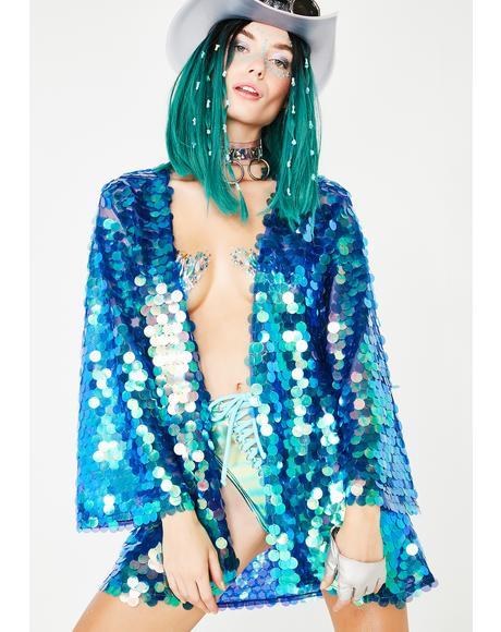Mermaid Moon River Sequin Kimono