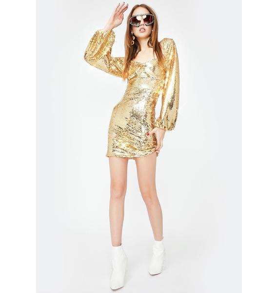 Glamorous Gold Sequin Bodycon Mini Dress