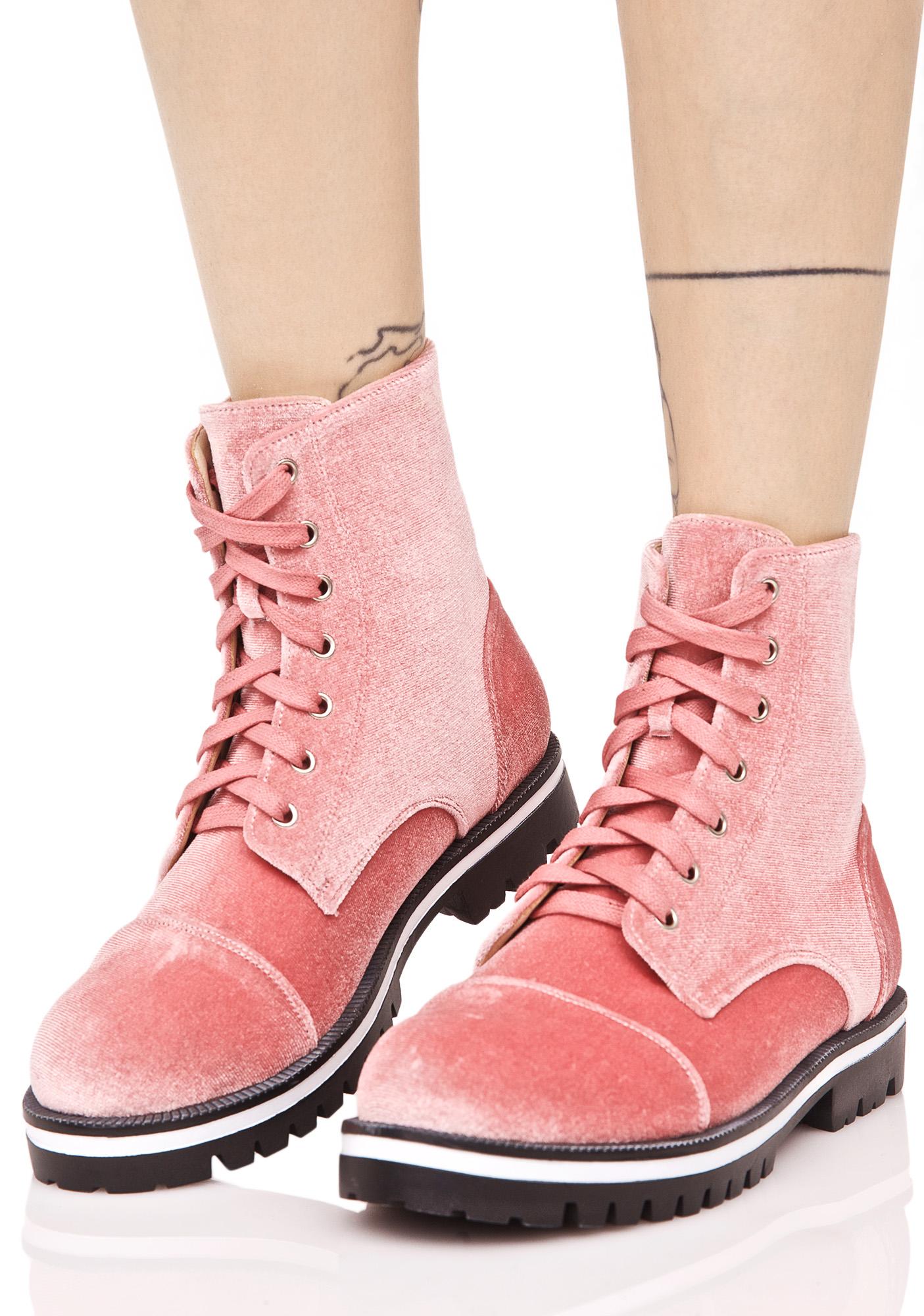 Rose Velvet Combat Boots