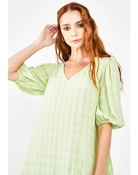 Sage Check Elina Dress