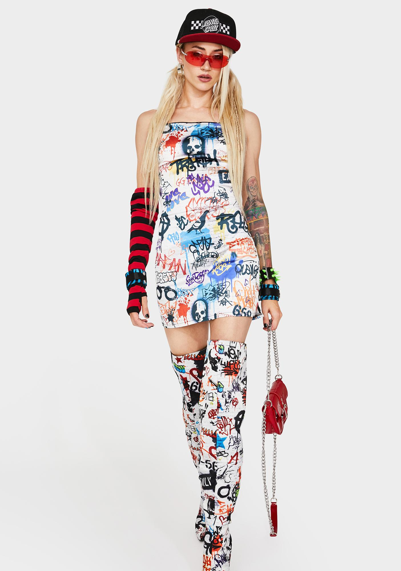 Current Mood Writing's On The Wall Mini Dress