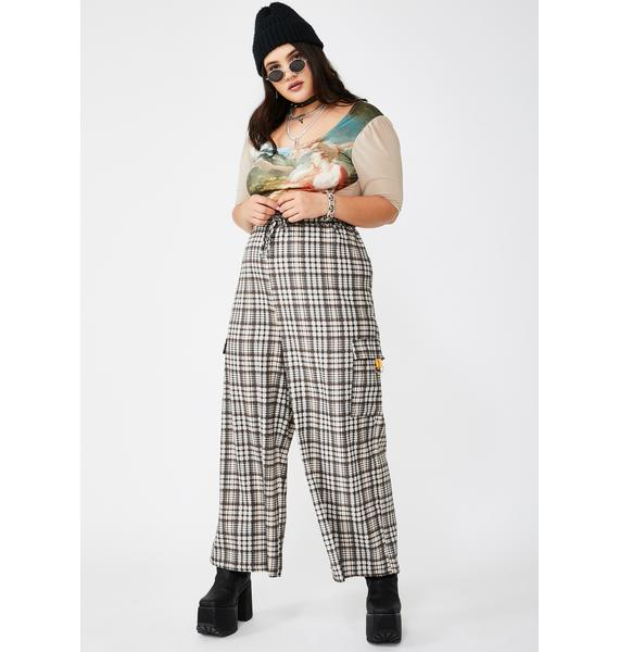 NEW GIRL ORDER Plus Traditional Check Drawcord Trousers