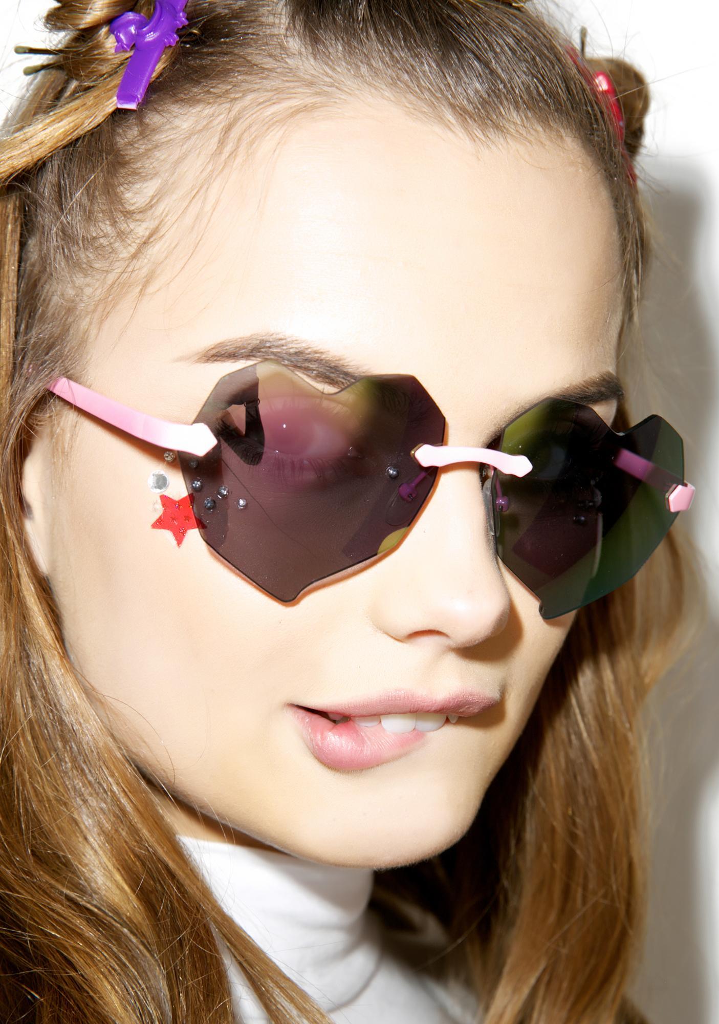 Heart Sunglasses  esqape lovelii heart sunglasses dolls kill