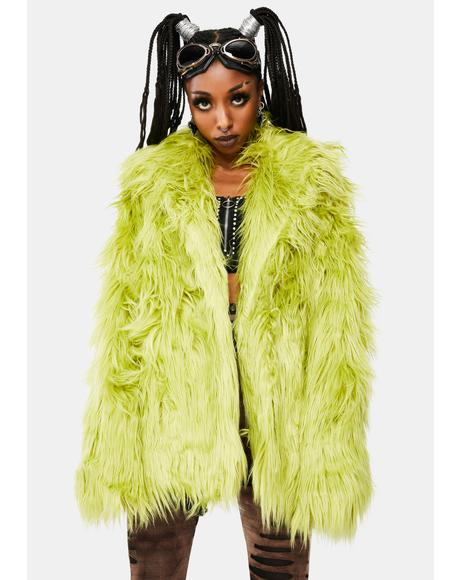 Punk Hair Long Green Coat
