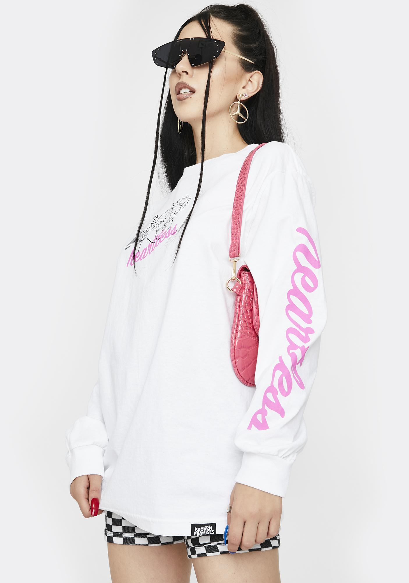 BROKEN PROMISES CO Pink Heartless Long Sleeve Graphic Tee
