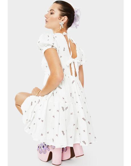 Ivory Floral Print Smock Dress